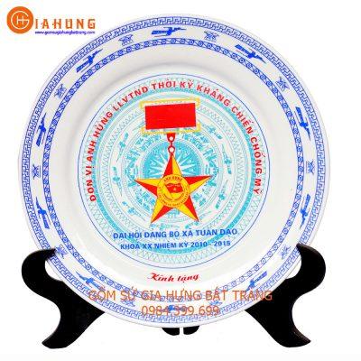 đĩa in logo, quà tặng gốm sứ