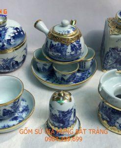 Bộ ấm chén men lam, bộ ấm chén vẽ trúc lâm thất hiền, bộ ấm chén bọc đồng, bộ ấm chén bát tràng, bộ ấm chén pha trà