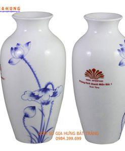 lọ hoa in logo, lọ hoa gom bát tràng, bình hoa gốm bát tràng, quà tặng gốm sứ, gốm sứ bát tràng
