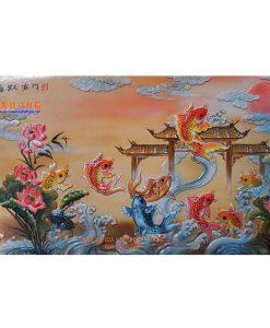 tranh gốm bát tràng, tranh gốm sứ, tranh cá chép vượt vũ môn, tranh cá chép vượt long môn, tranh gốm đắp nổi bát tràng,tranh gốm sứ, tranh gốm bát tràng, tranh cá chép trông trăng, tranh cá chép, tranh cửu ngư