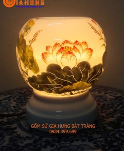 đèn xông tinh dầu, đèn xông tinh dầu gốm bát tràng, đèn xông tinh dầu bát tràng, đèn gốm bát tràng