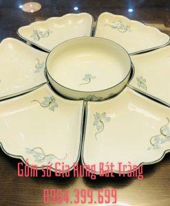 bộ đĩa mặt trời, bộ đĩa men kem hoa đào, bộ đĩa gốm bát tràng, đĩa ăn cao cấp, đĩa mặt trời men kem vẽ sen