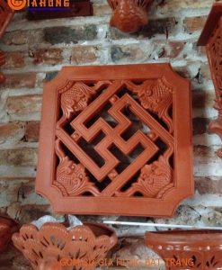 Gạch đất đỏ gốm bát tràng, gạch chữ thọ, gạch trang trí tường, gạch gốm đất đỏ