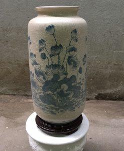 Bình hoa men rạn vẽ sen, bình hoa bát tràng, bình hoa đẹp, lọ hoa vẽ sen, lọ hoa đẹp bát tràng, quà tặng gốm sứ