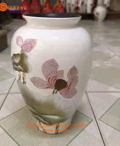 lọ hoa vẽ sen, lọ hoa in logo, quà tặng gốm sứ, lọ hoa khảm trứng bạc, vò khảm trứng bạc. bình hoa bát tràng, lọ hoa sơn mài
