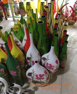 Bộ 3 bình hoa sơn mài gốm Bát Tràng, lọ hoa in logo, lọ hoa khảm trứng bạc, bình hoa bát tràng, lọ hoa sơn mài, bình hoa sơn mài bát tràng