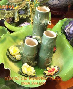 Bát hoa thác nước gốm bát tràng, cây thác nước, thác nước phong thủy, thác nước gốm, bát sen thả hoa, thác nước luân hồi