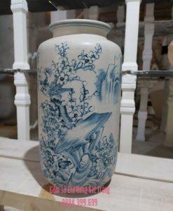 Bình hoa men rạn vẽ sen, bình hoa bát tràng, bình hoa đẹp, lọ hoa vẽ sen, lọ hoa đẹp bát tràng, quà tặng gốm sứ, lọ hoa vẽ sen cá