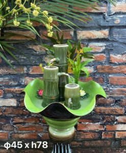Bát hoa thác nước gốm bát tràng, cây thác nước, thác nước phong thủy, thác nước gốm, bát sen thả hoa, thác nước luân hồi, bát sen tắm phật