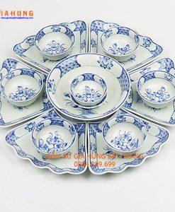 Bộ mặt trời men trắng gốm bát tràng, bộ bát đĩa gốm sứ, bộ đĩa mặt trời, bộ đĩa men kem hoa đào, bộ đĩa gốm bát tràng, đĩa ăn cao cấp, đĩa mặt trời men kem vẽ sen