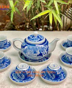 Bộ ấm chén men lam, bộ ấm chén vẽ rồng ẩn, bộ ấm chén bọc đồng, bộ ấm chén bát tràng, bộ ấm chén pha trà, bình trà vẽ long ẩn, tách trà men lam rồng ẩn