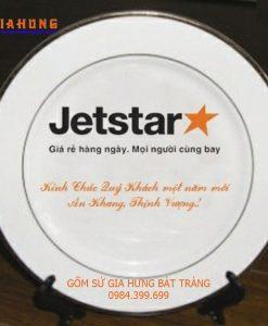 quà tặng jetstar, quà tặng gốm sứ, đĩa in logo, đĩa in logo, quà tặng gốm sứ, tranh đĩa gốm bát tràng, đĩa sứ bát tràng, đĩa vẽ cảnh trên gốm sứ