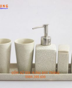 Bộ phụ kiện nhà tắm, Bình xịt rửa tay, bình rửa tay bằng gốm sứ bát tràng, bình đựng sửa tắm bằng gốm sứ, bình đựng nước rửa tay bằng gốm sứ