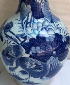 lo toi ve sen, ọ tỏi vẽ chim trĩ hoa phù dung, bình tỏi gốm bát tràng, lọ tỏi vẽ tay