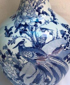 ọ tỏi vẽ chim trĩ hoa phù dung, bình tỏi gốm bát tràng, lọ tỏi vẽ tay