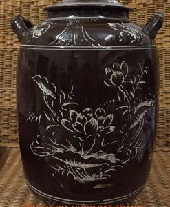 hũ đựng gạo phong thủy, hũ đựng gạo bằng gốm sứ bát tràng, hũ sành đựng gạo, hũ đựng gạo bằng sành, hũ đựng gạo vẽ cảnh