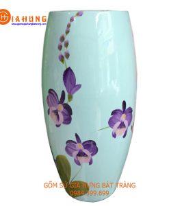 lọ hoa vẽ sơn mài, bình hoa vẽ sơn mài, bình hoa gốm bát tràng, bình gốm bát tràng, bình hoa in logo, quà tặng gốm sứ
