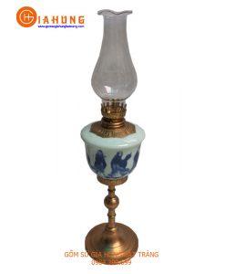 đèn dầu thờ, đèn dầu bọc đồng, đèn dầu chân đồng, đèn dầu gốm bát tràng, đèn dầu men rạn bọc đồng, đèn dầu men lam bọc đồng
