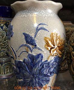 lọ hoa khắc nổi, lọ hoa gốm bát tràng, lọ hoa men rạn, lọ hoa vẽ sen, lọ hoa khoa văn nổi, lọ hoa miệng lượng