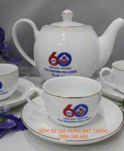 Bộ ấm chén in logo, bo am chen in logo, quà tặng gốm sứ, qua tang gom su, in logo lên gốm sứ, Nhận in logo lên gốm sứ, Nhận làm quà tặng gốm sứ