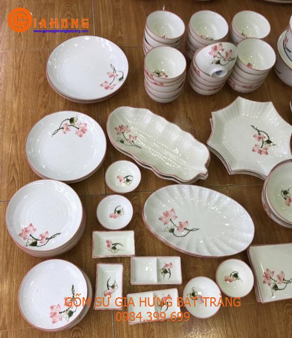 Bộ đồ ăn gốm bát tràng, bộ đồ ăn, bộ đồ ăn men kem, bộ đồ ăn gốm sứ, đĩa sứ, bát ăn cơm, đĩa bầu dụng, đĩa lá, tô cơm, bát mắm, đĩa muối