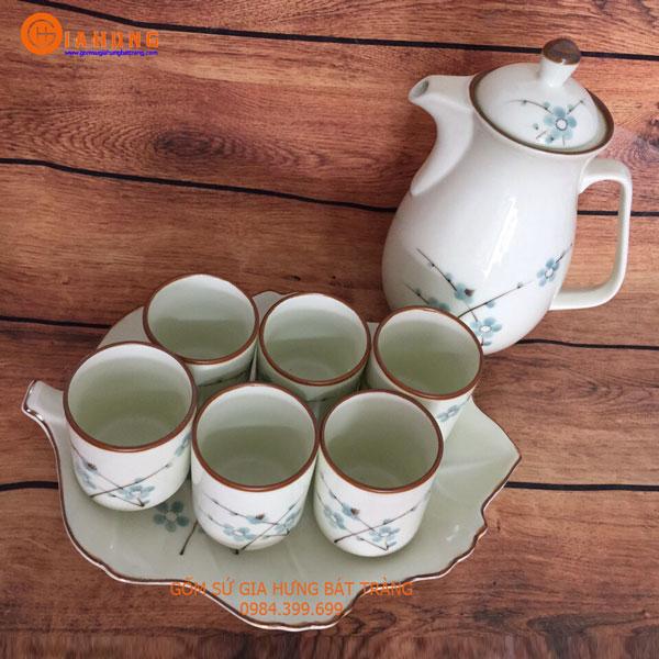 bình nước, bình trà, bình chè xanh, bình nước vẽ hoa đào, bình nước vẽ hoa sen, bình nước gốm sứ, bình trà gốm sứ, bình nước gốm bát tràng, bình trà gốm bát tràng