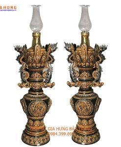 đèn dầu thờ, đèn dầu giả cổ, cây đèn dầu, chân đèn dầu, đèn dầu khắc nổi, đèn thờ bát tràng, đèn dầu thờ gốm