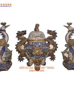 bộ đồ thờ gốm bát tràng, đồ thờ men rạn đắp nổi, đồ thờ gốm sứ, đỉnh hạc, bộ đỉnh hạc đắp nổi