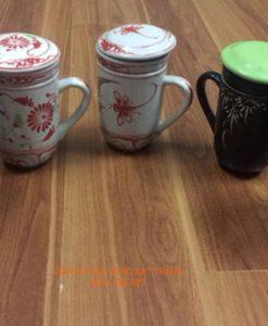 cốc lọc trà gốm bát tràng, cốc trà, cốc lọc trà, ly lọc trà, ly uống trà, cốc uống trà, cốc gốm sứ bát tràng, cốc lọc trà vẽ chuồn