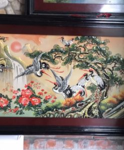 tranh gốm bát tràng, tranh bách hạc quần tùng, tranh gốm sứ, tranh cá chép vượt vũ môn, tranh cá chép vượt long môn, tranh gốm đắp nổi bát tràng