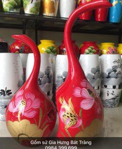 ộ 2 bình hoa gốm Bát Tràng, lọ hoa in logo, lọ hoa khảm trứng bạc, bình hoa bát tràng, lọ hoa sơn mài, bình hoa sơn mài, bình hoa dáng thiên nga vẽ sen