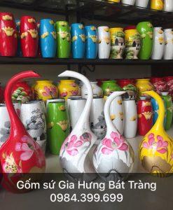 Bộ 2 bình hoa gốm Bát Tràng, lọ hoa in logo, lọ hoa khảm trứng bạc, bình hoa bát tràng, lọ hoa sơn mài, bình hoa sơn mài, bình hoa dáng thiên nga