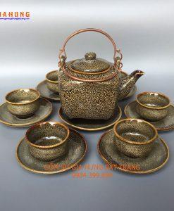 Bộ ấm chén men hỏa biến gốm bát tràng, bộ ấm chén bát tràng, ấm chén men hỏa biến, ấm chén cao cấp, bộ tách trà gốm