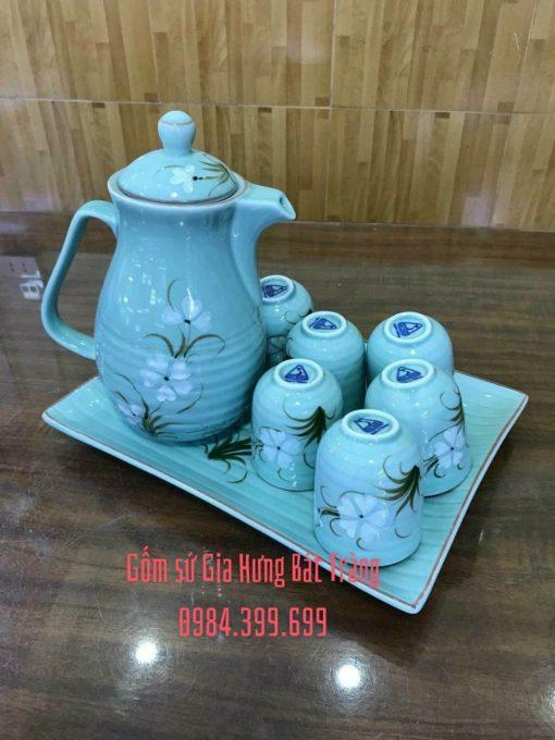 bình nước, bình trà, bình chè xanh, bình nước vẽ hoa đào, bình nước vẽ hoa sen, bình nước gốm sứ, bình trà gốm sứ, bình nước gốm bát tràng, bộ ấm chén gốm, bộ bình trà gốm bát tràng, ấm chén đẹp