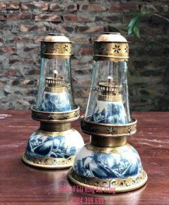 den dau tho, đèn dầu bọc đồng, đèn dầu gốm bát tràng, đèn dầu hoa văn khắc nổi, đèn dầu thờ, đèn thờ men rạn, đèn thắp dầu, đèn thờ men lam