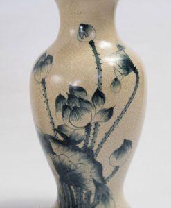 Bình hoa men rạn vẽ sen, bình hoa bát tràng, bình hoa đẹp, lọ hoa vẽ sen, lọ hoa đẹp bát tràng, quà tặng gốm sứ, lọ hoa vẽ sen cá, đôi lọ hoa thờ men rạn vẽ sen