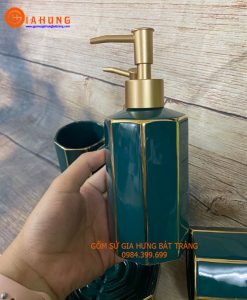 Bình xịt rửa tay bằng gốm sứ, chai đựng dầu gội, bình đựng sữa tắm, bộ phụ kiện nhà tắm, bath gel, shampoo, hand wash, bình xịt gốm bát tràng